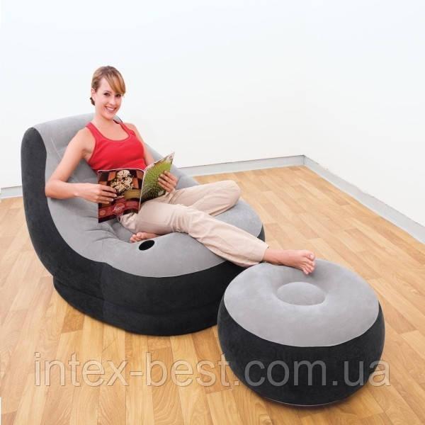 Надувное кресло c пуфиком Comfy Ultra Lounge серое 99х130х76см Intex 68564