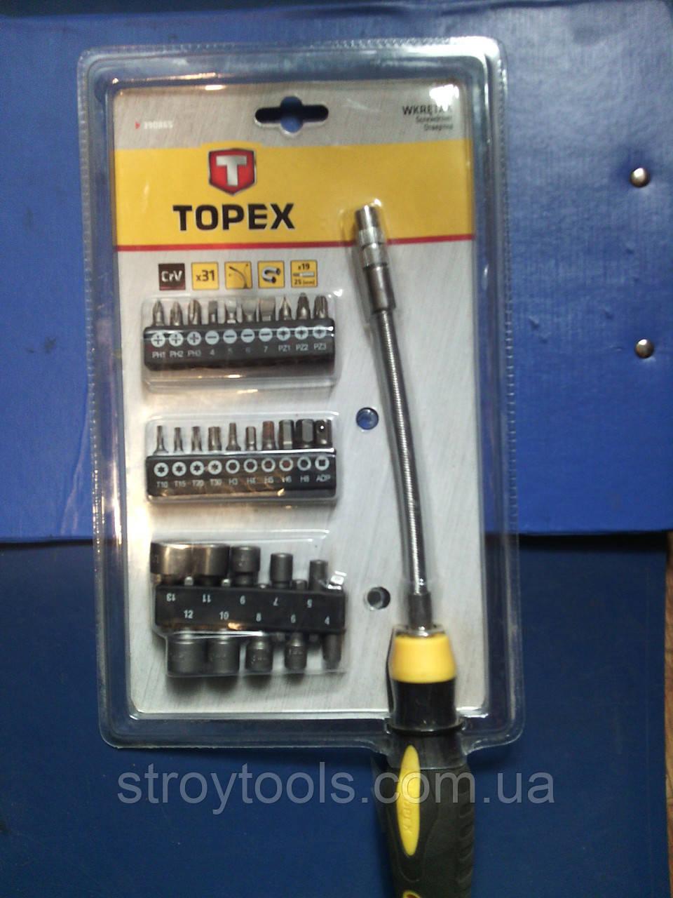 Отвертка TOPEX 39D865  с гибким стержнем намагничена с набором насадок 31шт.Киев.