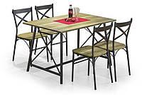 Стол обеденный деревянный RELIANT кофейный Halmar + 4 стула Halmar RELIANT