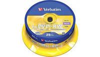 Диск 1 шт. DVD+RW 4.7Gb + конверт Verbatim box 25