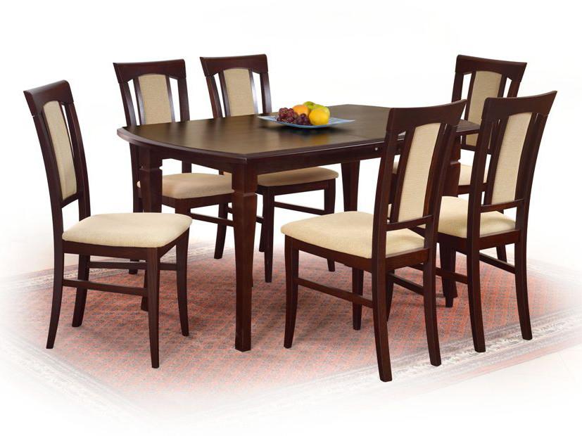Стол обеденный деревянный FRYDERYK 160/200 темный орех Halmar