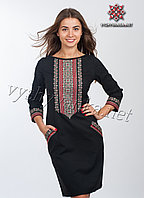 Черное платье вышиванка, арт. 4114