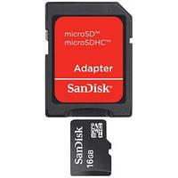 Карта памяти MicroSDHC 16Gb class 4 (SD адаптер) SanDisk (SDSDQM-016G-B35A)