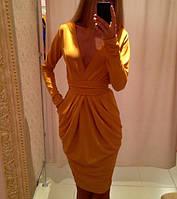 """Шикарное платье """"Осень"""", горчичный, фото 1"""