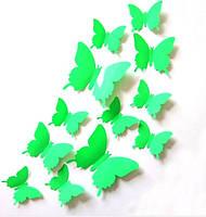 Бабочки 3D светло-зелёные 3Д декор наклейки