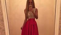 """Стильное кружевное платье """"Колибри"""", молоко+красный (р-р универсальный)"""