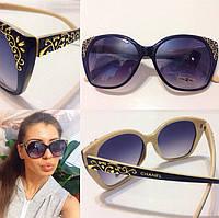 """Очки женские солнцезащитные черные """"Chanel вензеля"""""""
