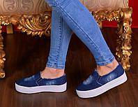 Слипоны женские джинсовые порезы