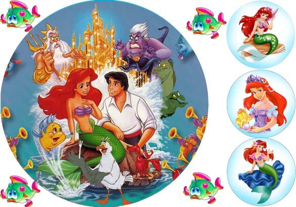 Вафельная картинка для тортов Modecor Принцесса Русалка 2
