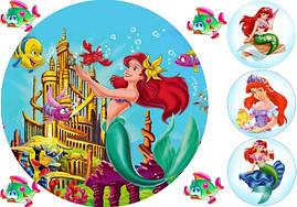 Вафельная картинка для тортов Принцесса Русалка 3