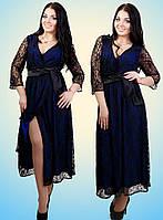 Элегантное гипюровое платье с атласным поясом, 3 цвета (батал)