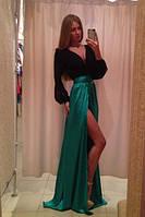 """Модное длинное платье """"(9)Николь"""", черный+зеленый (р-р универсальный)"""