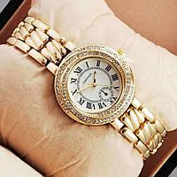 Часы наручные женские под золото с камушками (со стразами) золотые Cartier