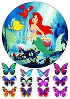 Вафельная картинка для тортов Принцесса Русалка 4
