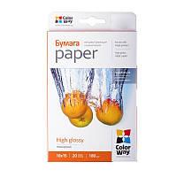 Бумага 10*15 20л глянцевый 180г/м2 PG180-20 ColorWay (PG1800204R)