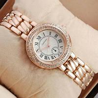 Часы наручные женские под розовое золото с камушками (со стразами) золотые Cartier