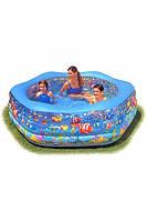 Детский бассейн с надувным дном 56493 Океанский риф, 541л, 5,2кг, 191*178*61см, ТМ Интекс