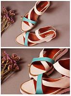 Стильные женские комфортные сандалии TroisRois на липучке из натуральной турецкой кожи