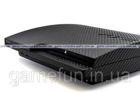 PS3 Slim виниловая наклейка Carbon (black) Premium