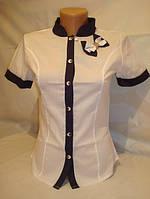 Стильная рубашка (1)N2-1 белый+синий, фото 1