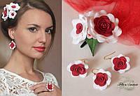 """Комплект авторских украшений """"Красно-белые розы""""(серьги + кольцо + заколка), фото 1"""