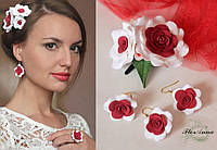 """Комплект авторских украшений """"Красно-белые розы""""(серьги + кольцо + заколка)"""