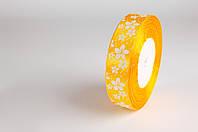 Лента атласная 25мм цветок желтая