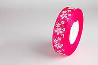 Лента атласная 25мм цветок розовая
