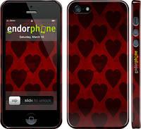 Накладка для iPhone 5/5S пластик Endorphone черные сердца на красном фоне глянец (735c-21)