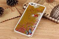 Накладка для iPhone 6/6S пластик 0,5mm Infinity блестки Бабочка Золотой