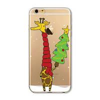 Накладка для iPhone 6/6s силикон 0,3mm Infinity Slim Glamour Жираф с ялинкою