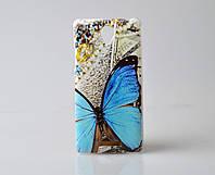 Накладка для Lenovo A5000 пластик Infinity Slim Glamour голубой Бабочка
