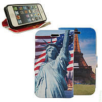 Чехол-книжка для Lenovo A6000/ A6010/ A6010 Pro Double Case Eiffel Tower/Statue of Liberty