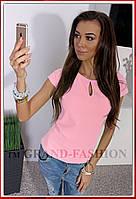 """Блузка Летняя супер-лёгкая """"Капля"""" цвет нежно-розовый"""