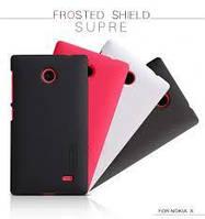 Накладка для Nokia X пластик Nillkin Matte красный (+ пленка)