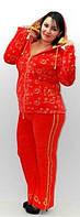 Велюр спортивный красный костюм Penye Mood, качественный спортивный костюм в розницу, оптом. Для ярких женщин.
