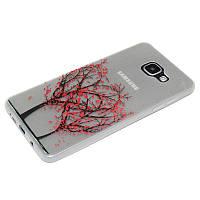 Накладка для Samsung A710 Galaxy A7 -2016 силикон 0,3mm Infinity Slim Glamour Деревья-сердца (светятся ночью)