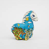 """Конь-буян """"Времена года"""", фарфоровая миниатюрная статуэтка, деколь, фото 1"""