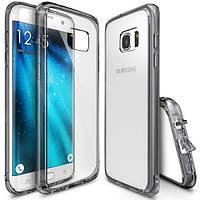Накладка для Samsung Galaxy S7 Flat G930 силикон 0,3mm Infinity Bamp Прозрачный / Золотой