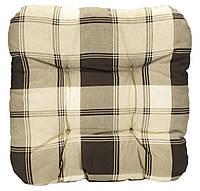 Подушка для стула 40 x 40 x 8 см клетка коричневая