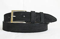 Кожаный замшевый ремень  чёрный 35 мм пряжка хром серебрянная