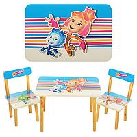 Детский столик для рисования 501-4 Фиксики: стол 60х40х44 см, 2 стула 28х23х23 см, МДФ/дерево