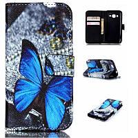 Чехол-Книжка для Samsung J110H Galaxy J1 Infinity Glamour голубой Бабочка