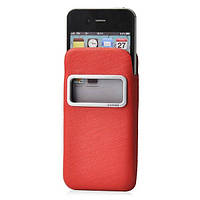 Чехол iPhone 4/4S Capdase Smart Pocket Case ID Luxe черный красный (DPIH4S-H217)