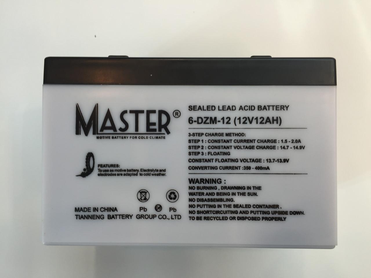 Аккумуляторы к электровелосипедам MASTER 6-DZM-12  - Instrade в Днепре