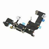 Шлейф Apple iPhone 5 з конектором зарядки, розємом гарнітури та компонентами Black (High Copy)