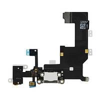Шлейф Apple iPhone 5 з конектором зарядки, розємом гарнітури та компонентами White (High Copy)