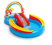 Надувная горка для детей «Радуга» 57453, игровой центр-бассейн, бортики, 297-193см, ремкомплект