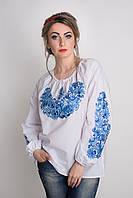 Стильная женская блуза с синей вышивкой