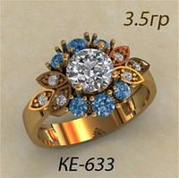 Модное золотое женское кольцо 585 * в виде цветочка